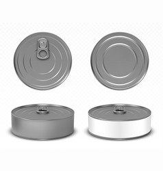 Round metal tin can for pet food mock up vector