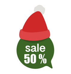 sale 50 green label christmas speech bubble with vector image