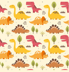 seamless pattern dinosaurs vector image