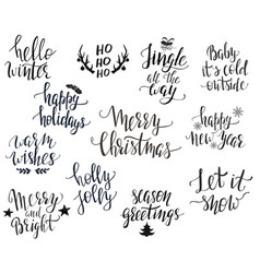 set christmas quotes vector image