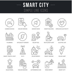 set line icons smart city vector image