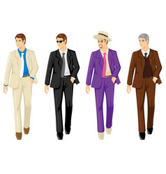 set of men in different suit vector image