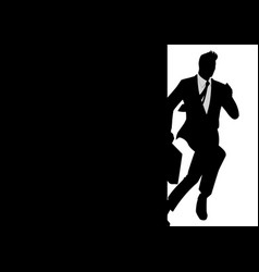 Silhouette of a running businessman vector