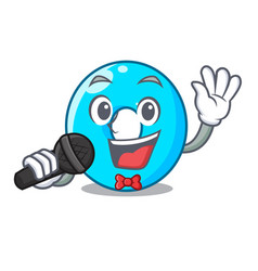 Singing cartoon the number zero color blue vector
