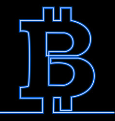 Single continuous line art bitcoin glowing neon vector