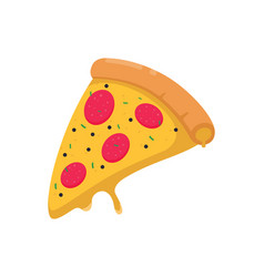 Slice pizza isolated on white background vector