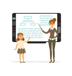 smiling teacher woman teaching girl with an vector image
