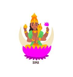 Soma indian god cartoon character vector