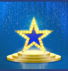 Star podium lamps blue light background vector
