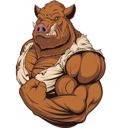 Strong ferocious boar vector