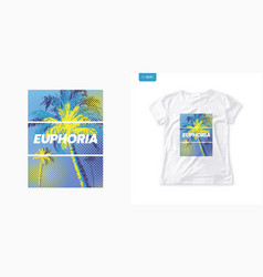 summer graphic womens tee with palm trees stylish vector image