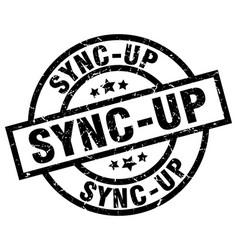 Sync-up round grunge black stamp vector