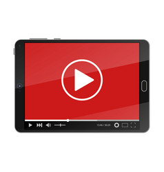 tablet pc with video player on screen vector image