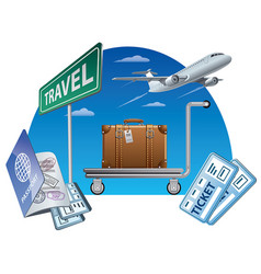 travel and passport with tickets vector image