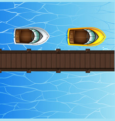 Two speed boats floating by the bridge vector