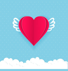 valentine day card with hearts of paper vector image