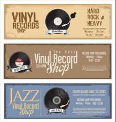 vinyl record shop retro grunge banner 3 vector image