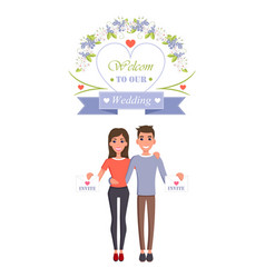 welcome to our wedding invite vector image