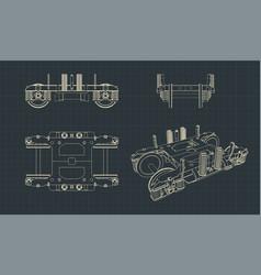 wheelbase a train car blueprint vector image