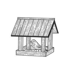 winter bird feeder sketch vector image