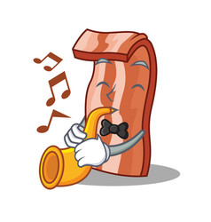 With trumpet bacon mascot cartoon style vector