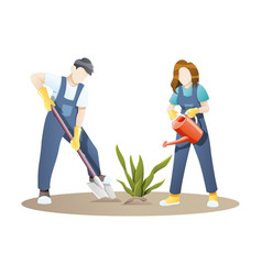 woman and man gardening together vector image