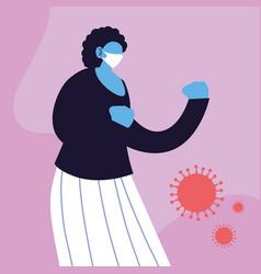 Woman in medical face mask fighting coronavirus vector