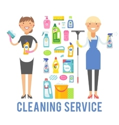 Young smiling cleaner woman service vector