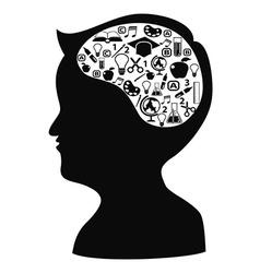 boy head shape with creative idea icons vector image