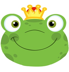 Cute Frog Smiling Head With Crown vector image vector image