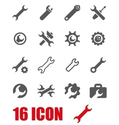 grey settings wrench icon set vector image vector image