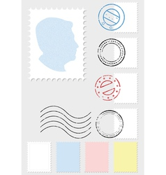 postage stamp set vector image vector image