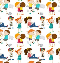 Seamless background with children in different vector image
