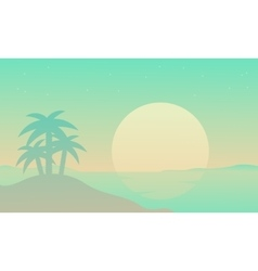Silhouette of beach with palm at sunrise vector image vector image