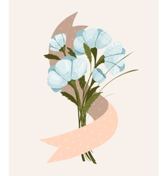 Spring Flowers Bouquet with Ribbon vector image