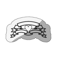 Sticker silhouette with set labels and heart vector