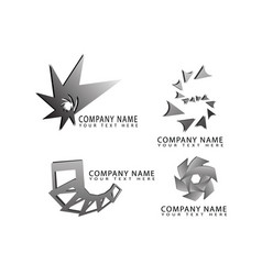 abstract star square cube flower logo symbols vector image