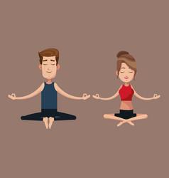 couple yoga exercise training vector image