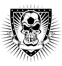 soccer skull shield vector image
