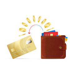 wallet to card money transfer vector image vector image