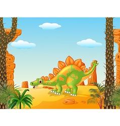 Cartoon cute stegosaurus posing with prehistoric vector image vector image