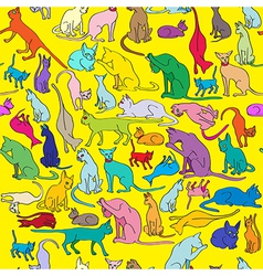 colored cats pattern vector image vector image
