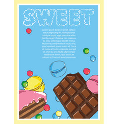 flyer on the theme of food and sweets on blue vector image