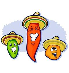Three Peppers Wearing Sobreros vector image vector image