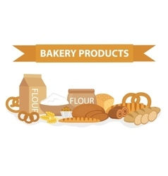 Bakery products still-life flat style Set of vector image