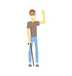 Blind Guy With Walking Stick Young Person With vector image vector image