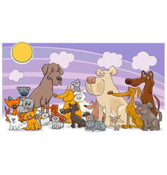 cartoon funny dog and cats group vector image vector image