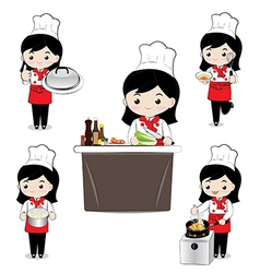 Little girl chef vector image vector image