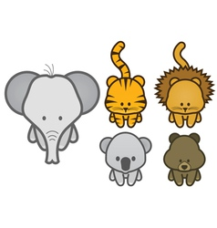 set of cartoon wild or zoo animals vector image