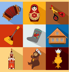 Set of Russia travel colorful flat icons Russian vector image